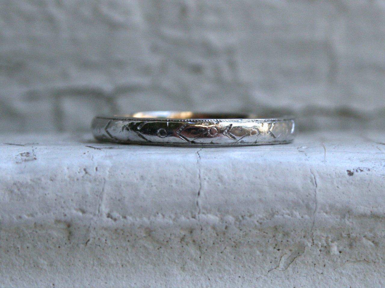 Fantastic Antique Floral Platinum/18K Yellow Gold Wedding Band.