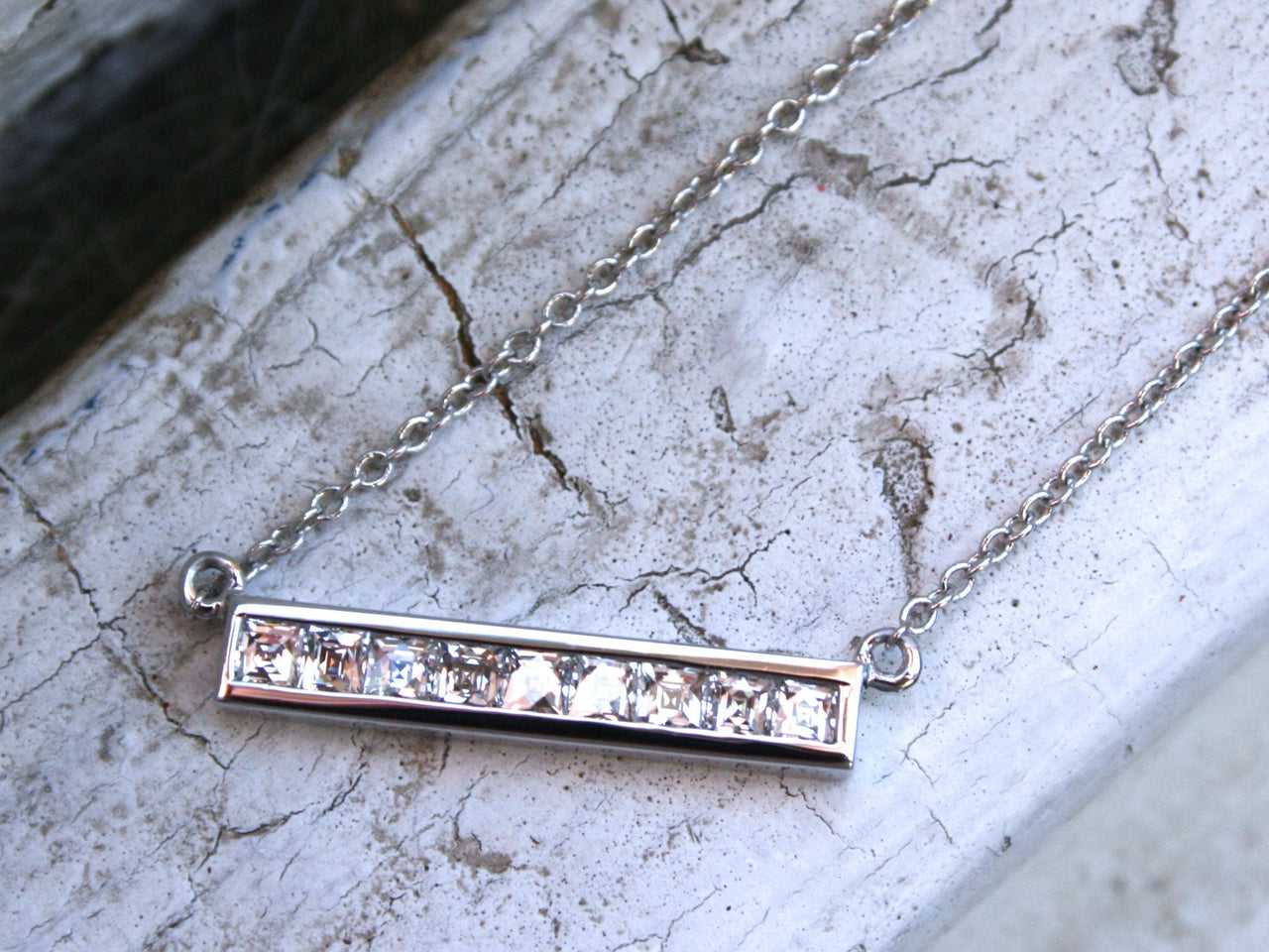French Cut Diamond Bar Necklace in 14K White Gold - 0.63ct.