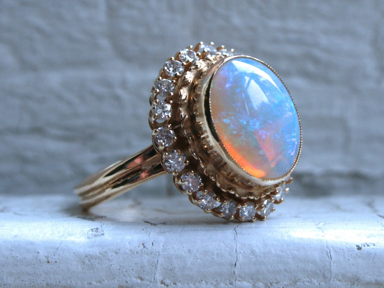 Gorgeous Vintage Opal and Diamond 14K Yellow Gold Ring Engagement Ring - 2.72ct.