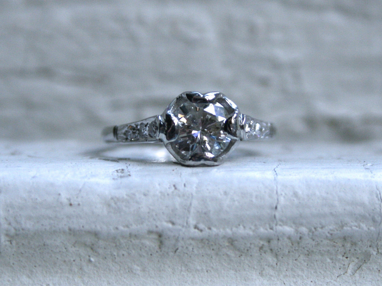 Vintage Platinum Diamond Engagement Ring - 0.94ct.