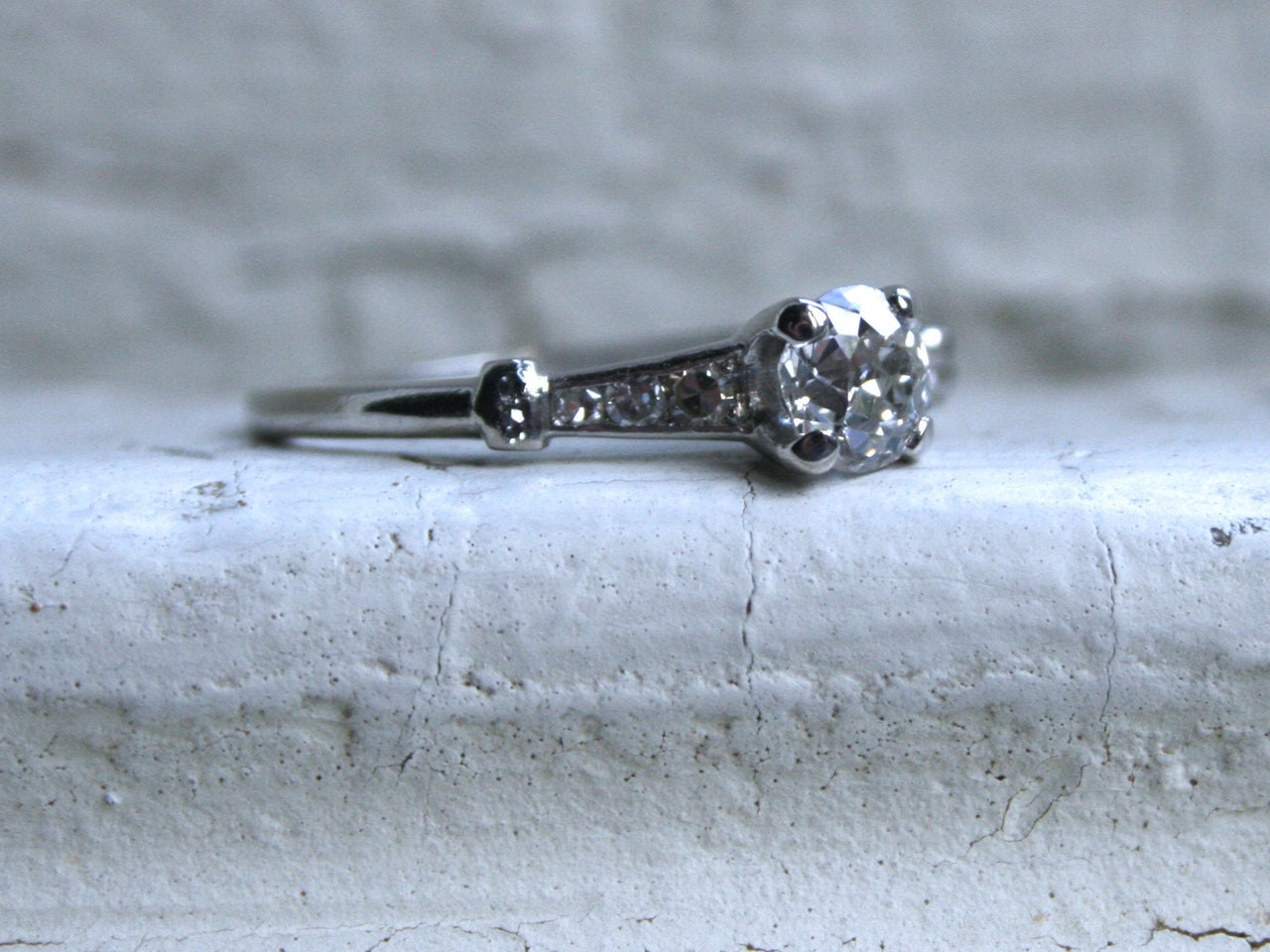 Gorgeous Antique Platinum Diamond Engagement Ring - 0.75ct.