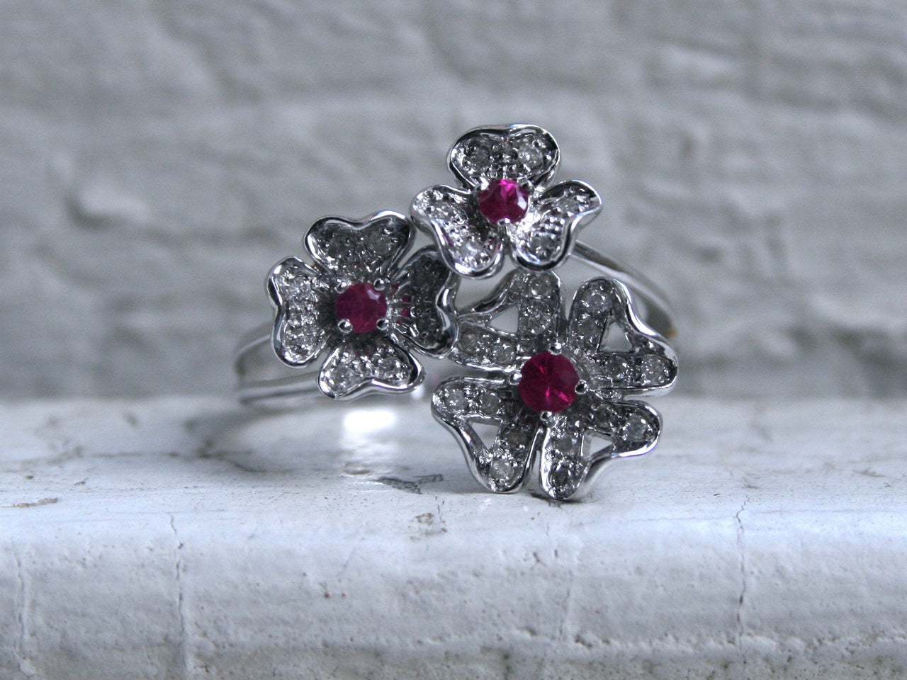 Vintage Floral 14K White Gold Diamond and Ruby Ring Engagement Ring by Le Vian- 1.64ct.