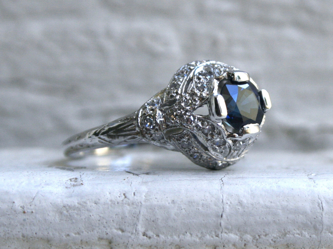 Vintage Filigree Platinum Diamond and Sapphire Engagement Ring - 1.87ct.