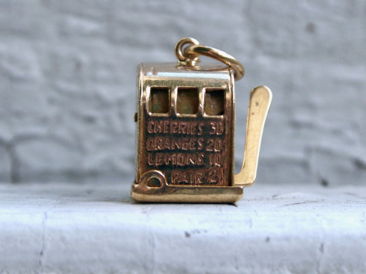 Vintage 14K Yellow Gold Slot Machine Charm/ Pendant.