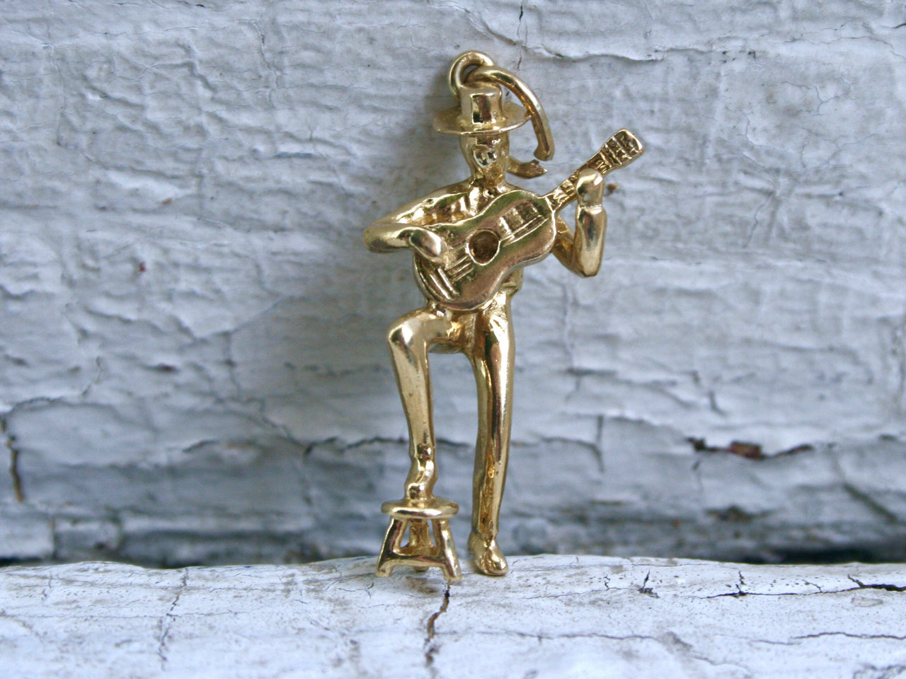 Vintage Guitar Player 14K Yellow Gold Charm/ Pendant.