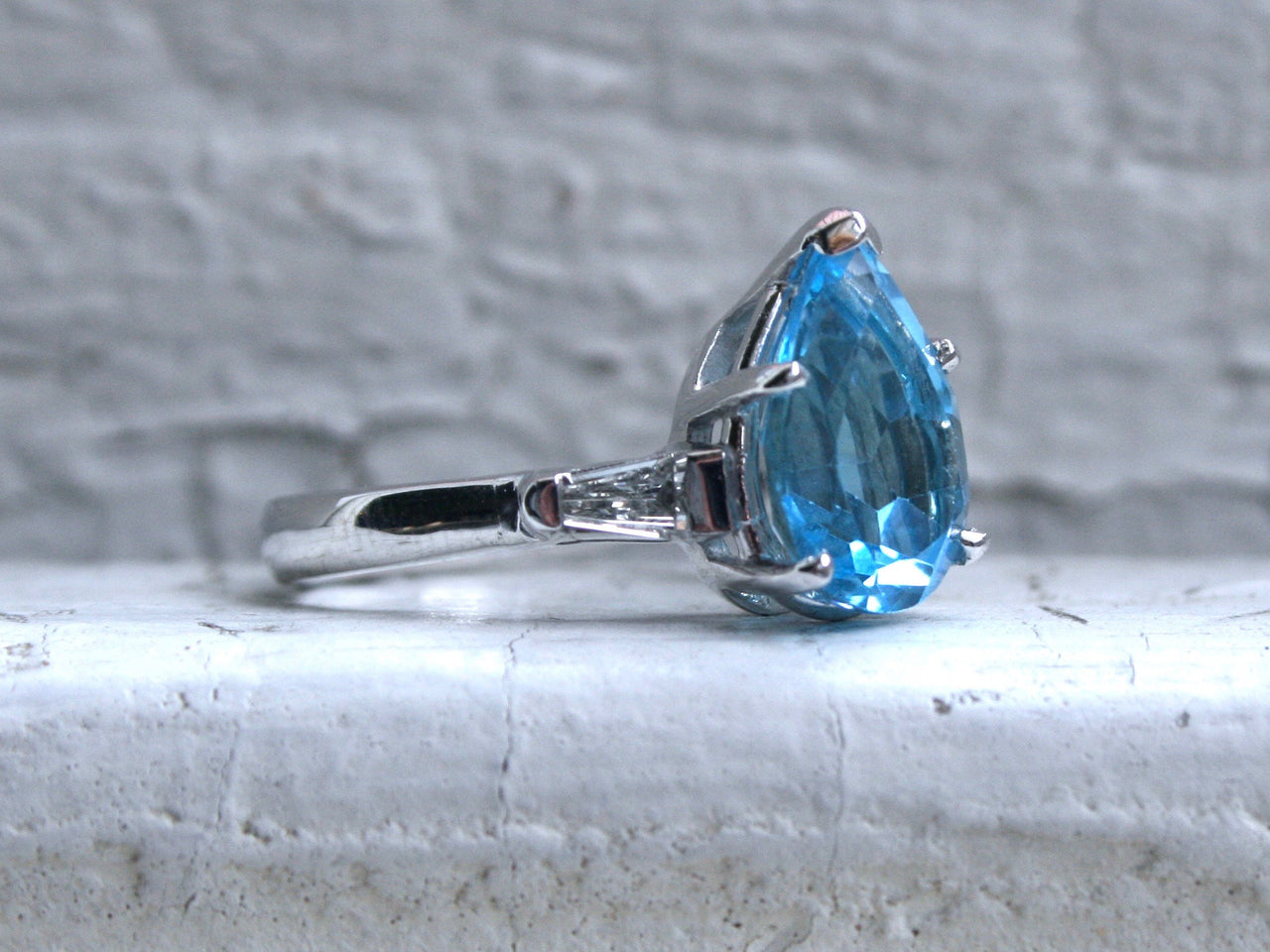 Fantastic Retro Vintage 14K White Gold Blue Topaz Ring with Diamond Accents - 3.95ct.