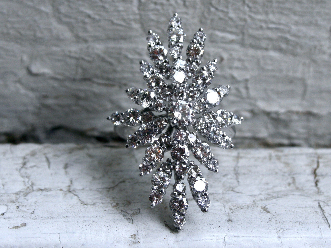 Fantastic Vintage 14K White Gold Diamond Cluster Engagement Ring - 3.93ct.