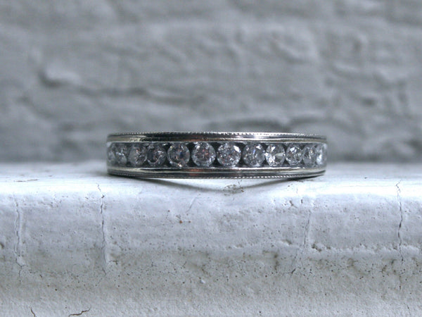 Vintage Beaded Channel 14K White Gold Diamond Wedding Band - 0.48ct