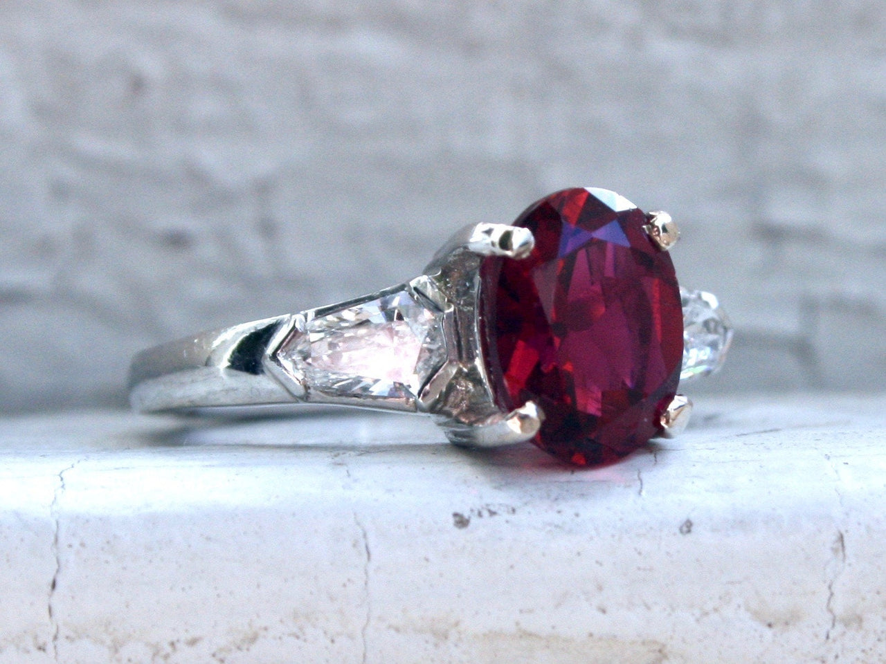 Vintage Platinum Diamond and Red Tourmaline Three Stone Ring Engagement Ring  - 2.75ct.