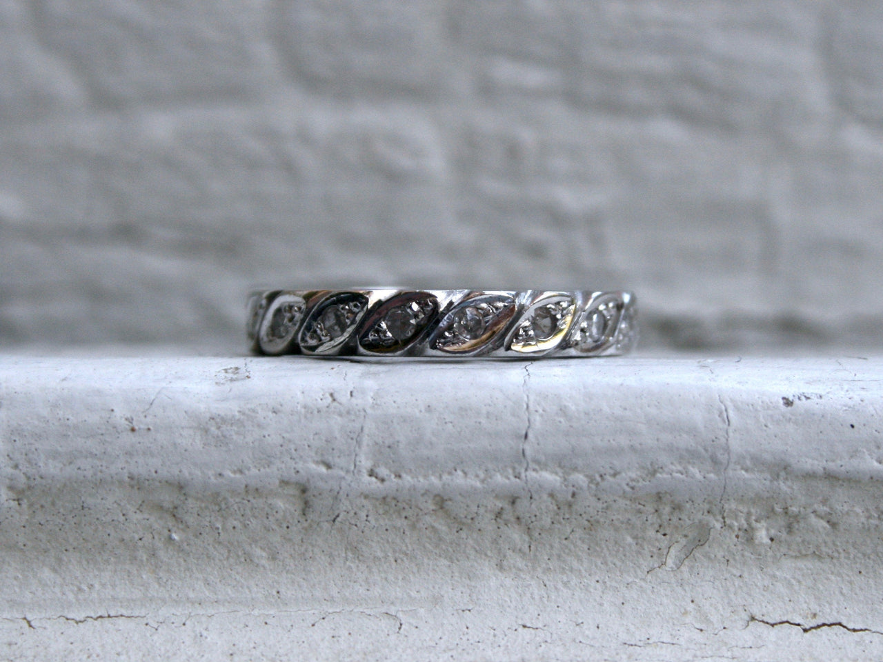Vintage 18K White Gold Diamond Eternity Wedding Band.