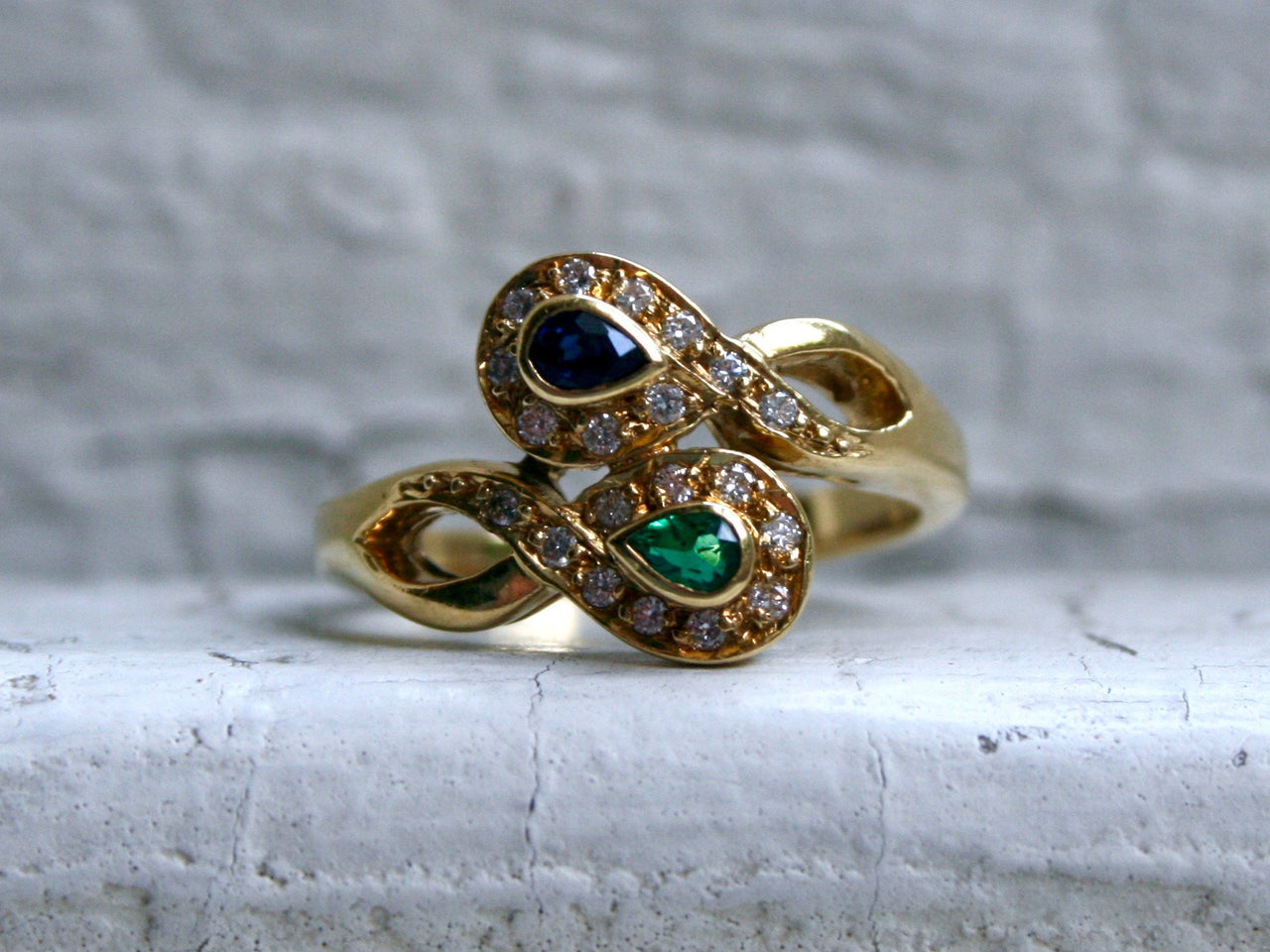 Vintage 18K Yellow Gold Emerald, Sapphire, and Diamond Ring by H. Stern- 0.80ct.