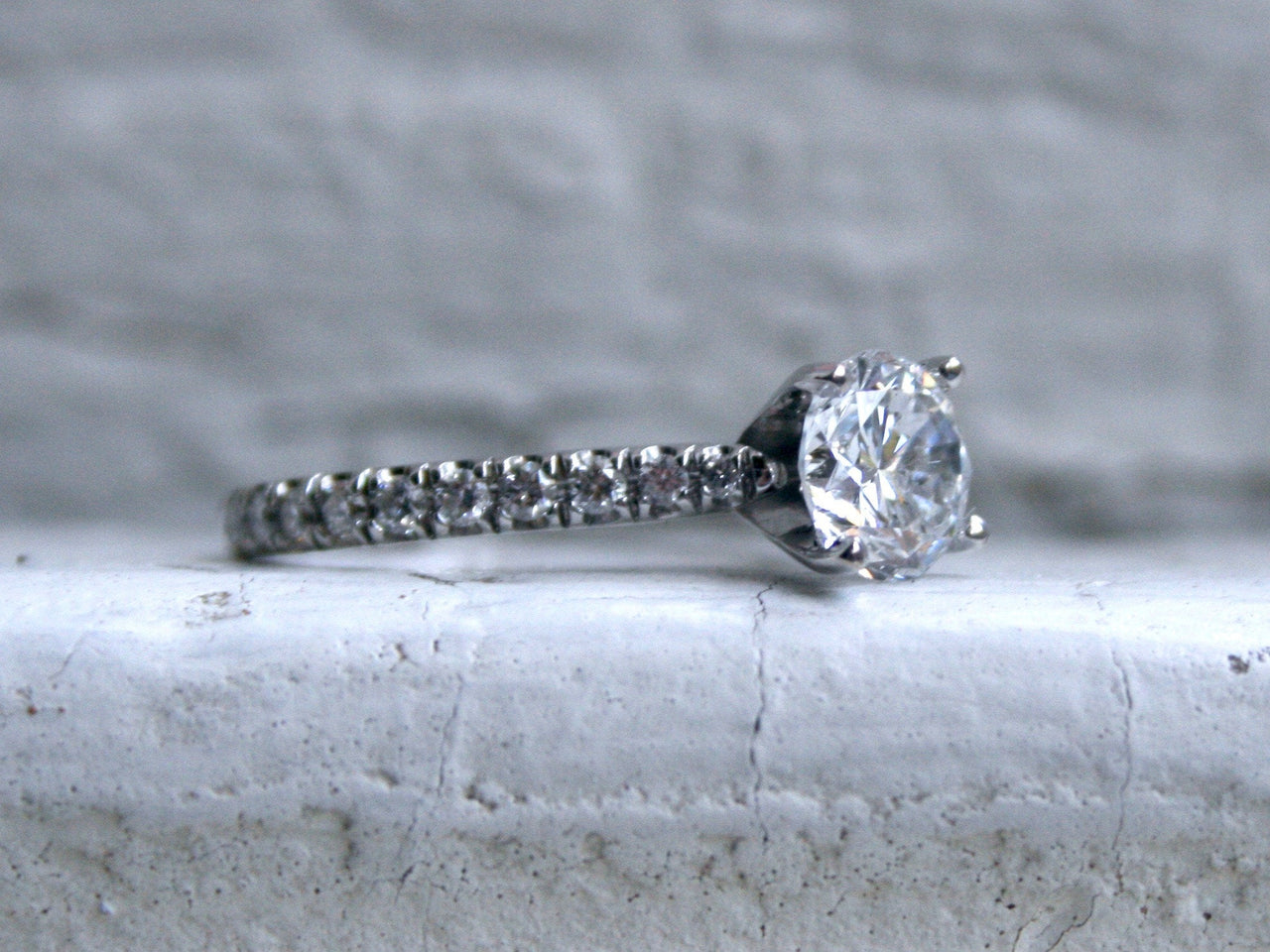 Stunning Simple Vintage 18K White Gold Micro Pave Diamond Ring Engagement Ring - 1.62ct.