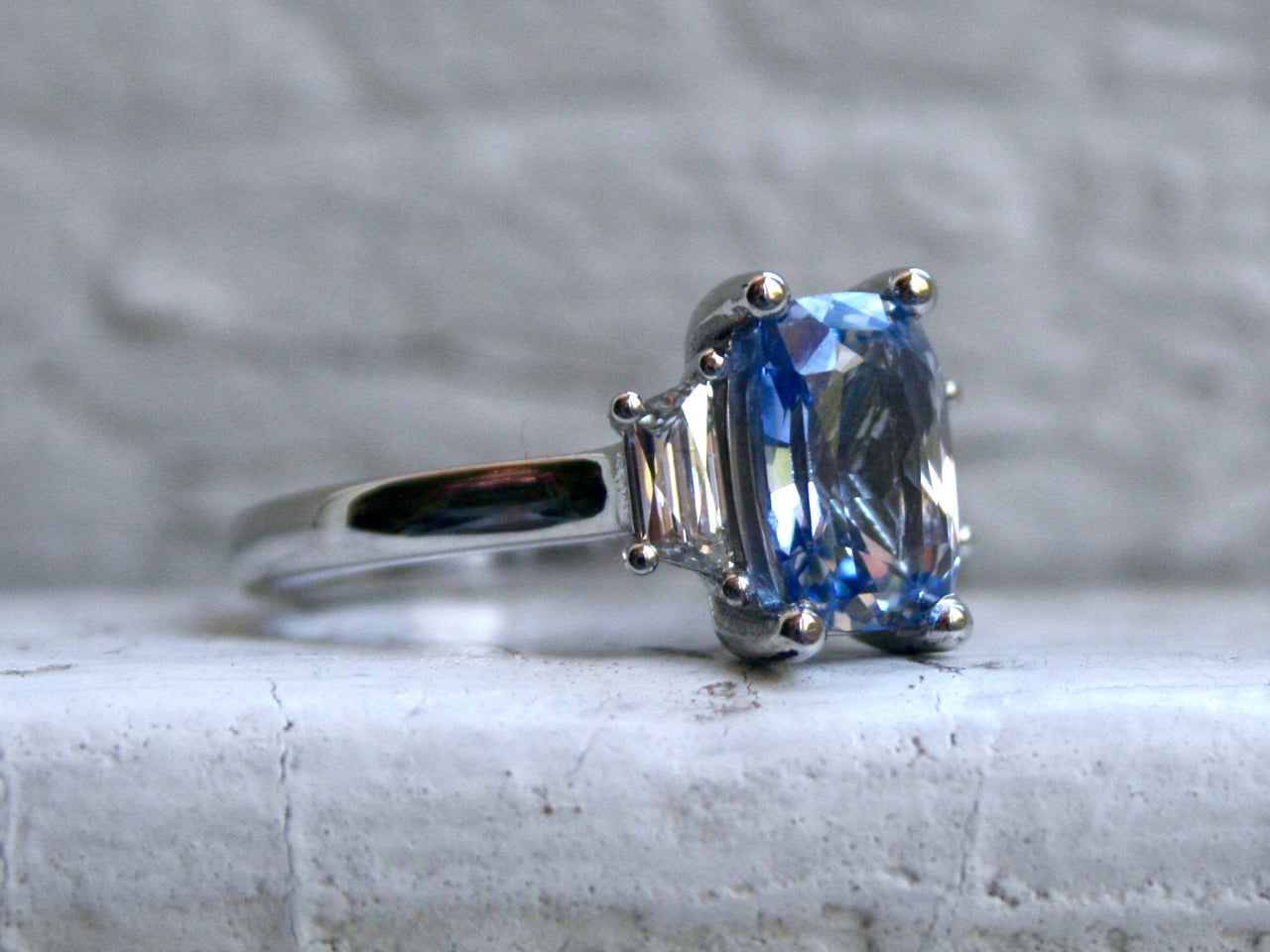 Gorgeous Platinum Unheated Ceylon Sapphire Engagement Ring with Trapezoid French Cut Diamonds - 3.00ct.