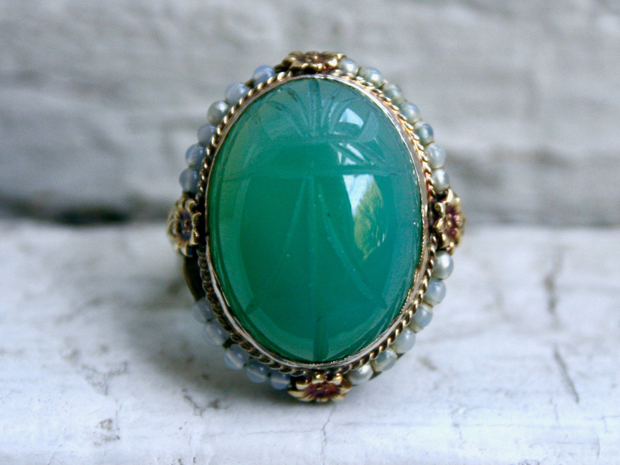Antique 14K Yellow Gold Carved Green Chalcedony Ring Filigree Engagement Ring - 15ct.