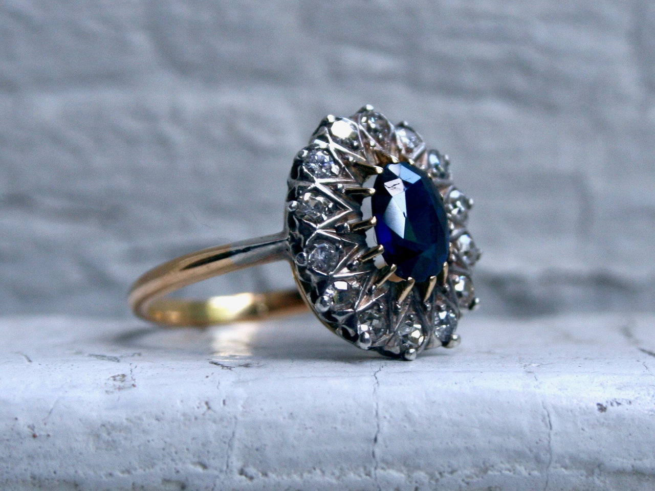 Antique 18K Yellow Gold Diamond Halo and Sapphire Engagement Ring - 1.66ct.