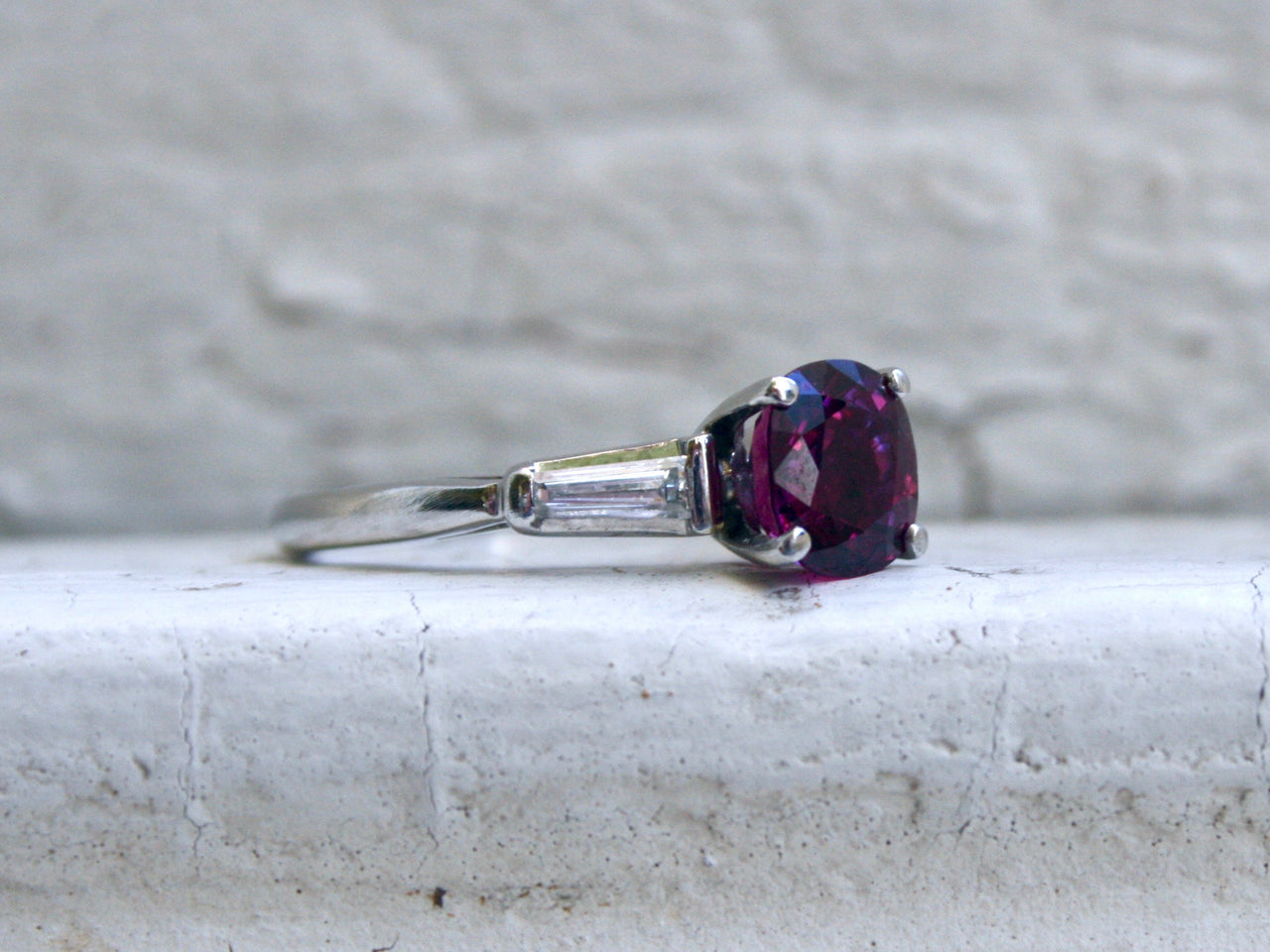 Classic Vintage Platinum Ruby Ring Engagement Ring with Baguette Diamonds - 1.80ct.