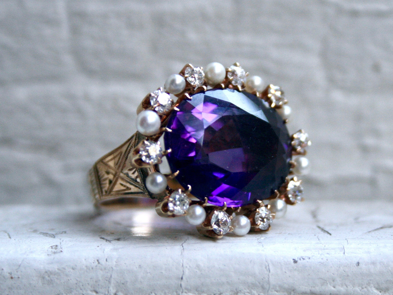 Outstanding Antique 14K Yellow Gold Amethyst Ring with Diamond and Pearl Halo - 15.70ct.