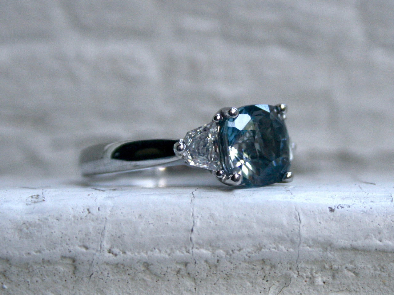 Gorgeous Platinum Ceylon Sapphire Engagement Three Stone Ring with Shield Cut Diamonds - 3.69ct.