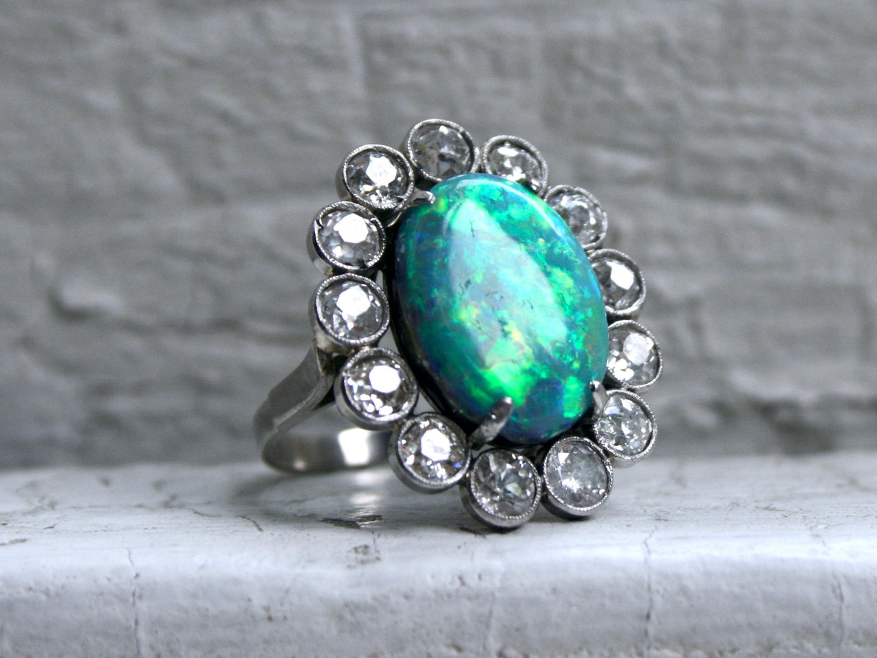 Gorgeous Vintage Opal and Diamond Halo Platinum Ring Engagement Ring.