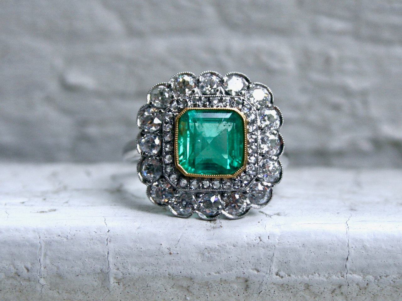 Antique Platinum Diamond Double Halo and Emerald Engagement Ring - 4.16ct.