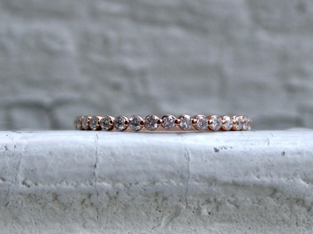 Thin Vintage 14K Rose Gold Diamond Wedding Band - 0.40ct