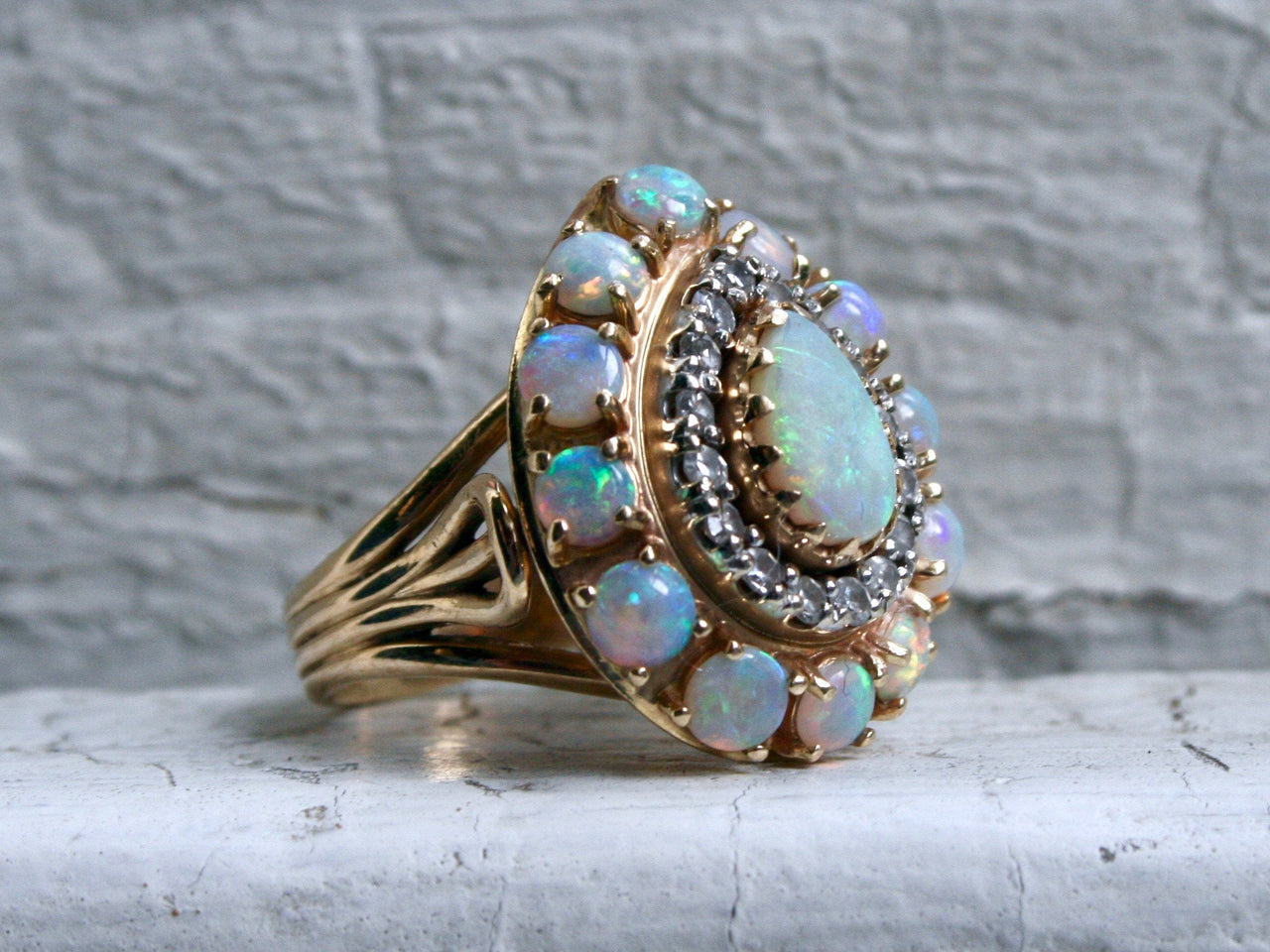 Gorgeous Vintage Opal and Diamond 14K Yellow Gold Cluster Ring Engagement Ring.
