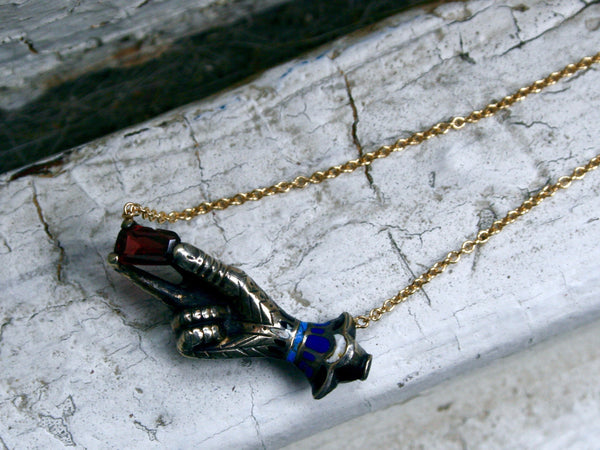 Antique Silver/ 14K Yellow Gold Hand Pendant with Garnet and Enamel Necklace.