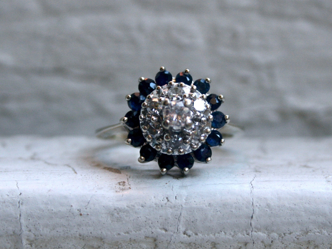 Pretty Vintage 14K White Gold Diamond and Sapphire Cluster Ring Engagement Ring - 1.01ct.