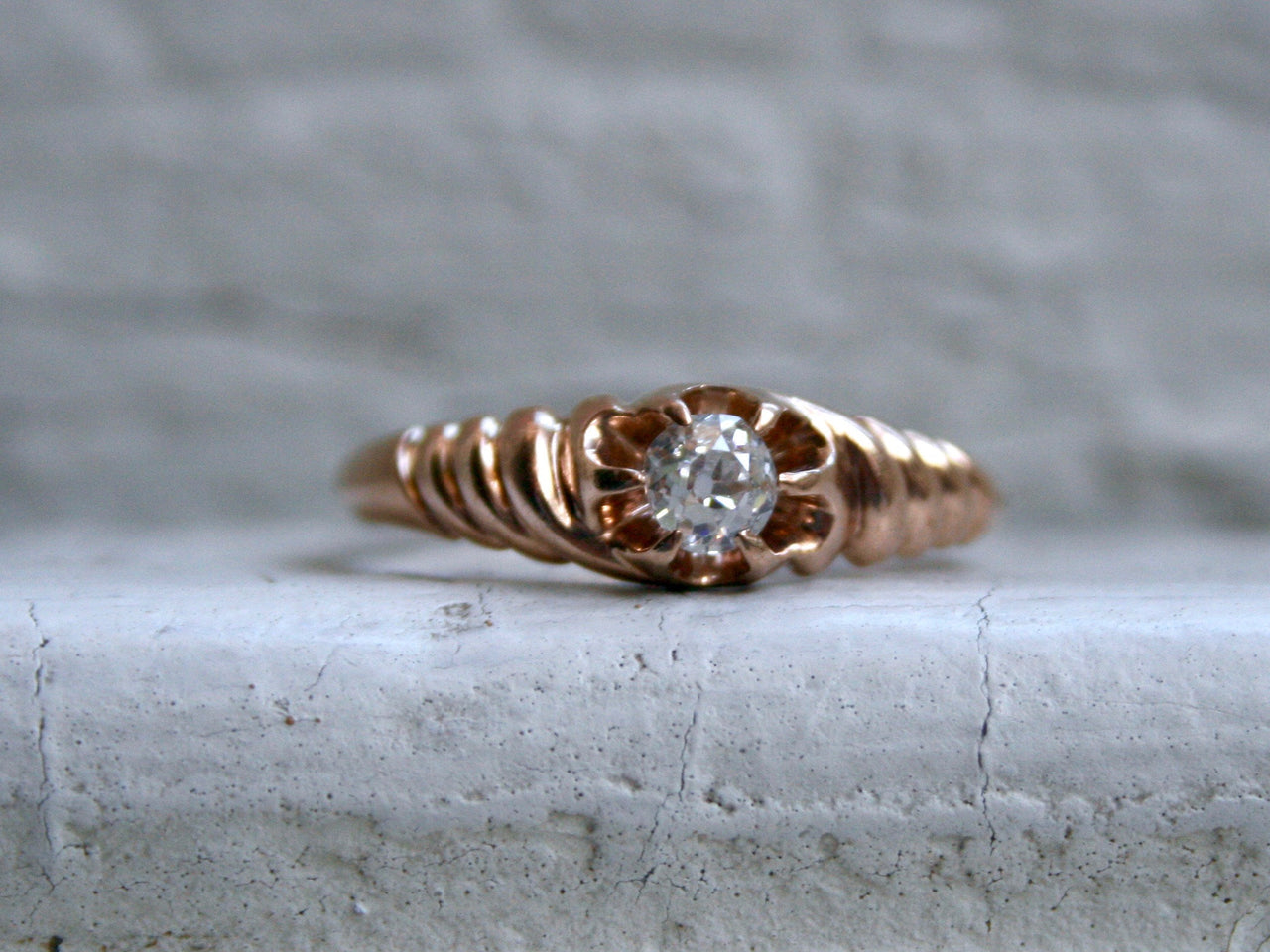 Beautiful Antique 10K Rose Gold Diamond Solitaire Engagement Ring - 0.33ct.