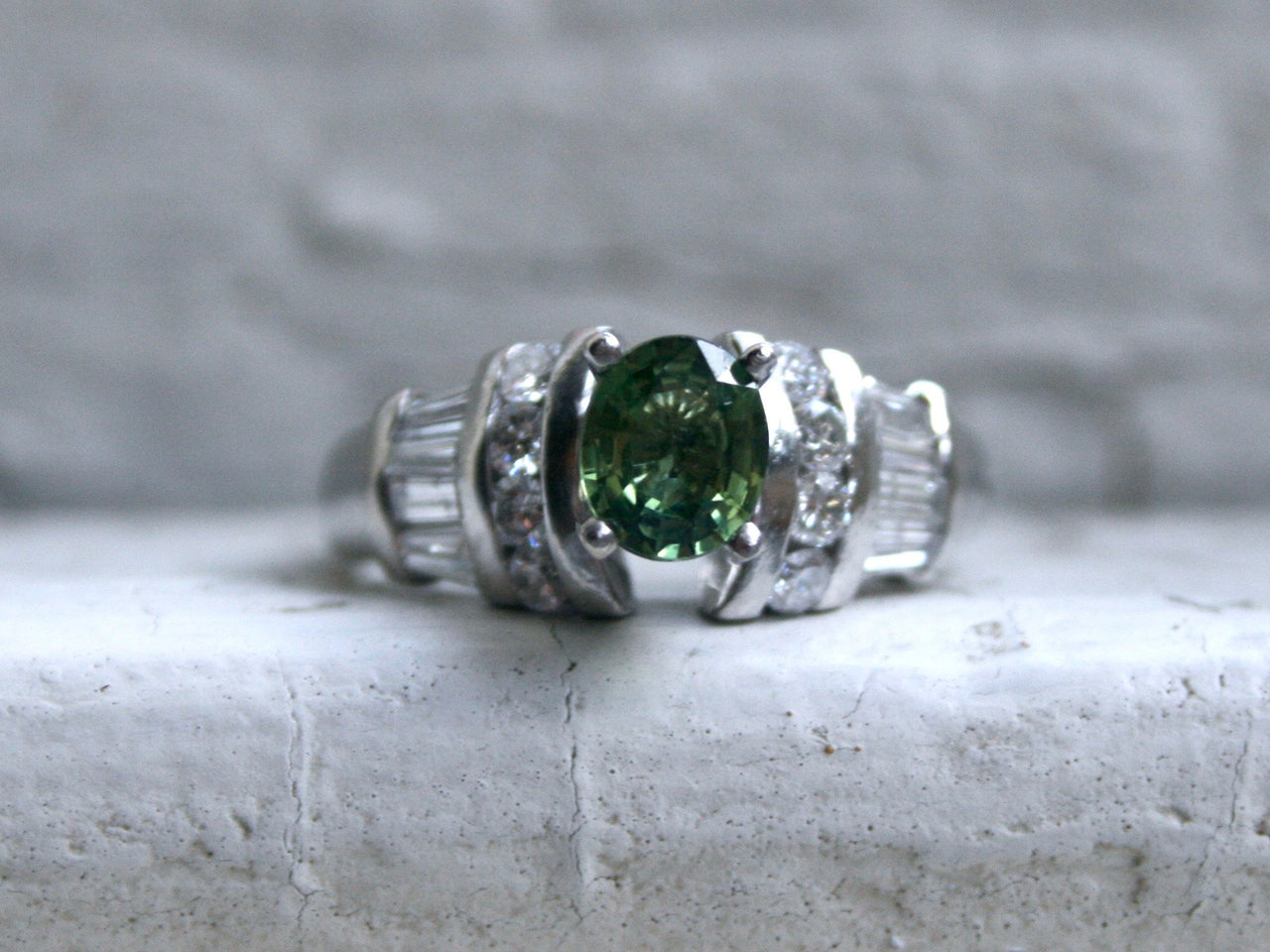 Vintage Platinum Green Sapphire and Diamond Ring Engagement Ring - 1.23ct