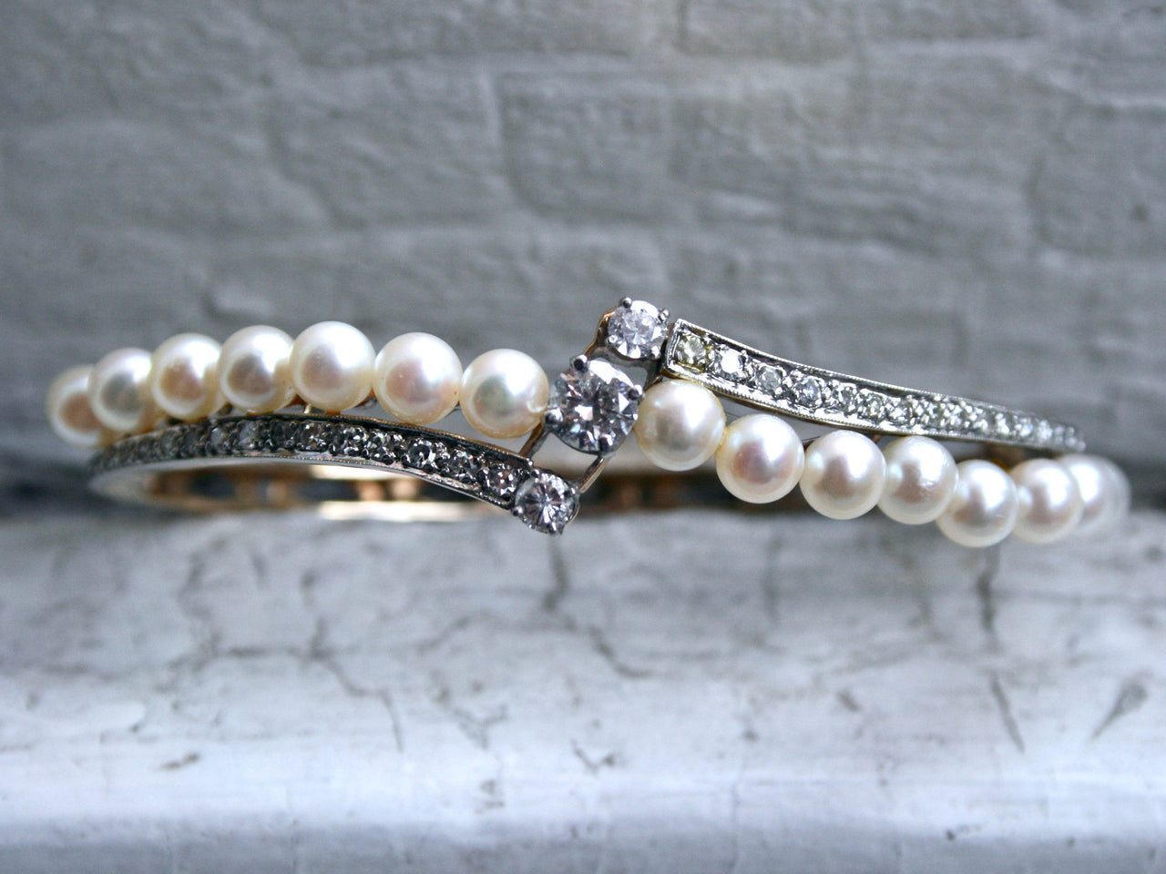 Gorgeous Vintage Diamond and Pearl 14K Yellow Gold Hinged Bangle Bracelet - 1.76ct.
