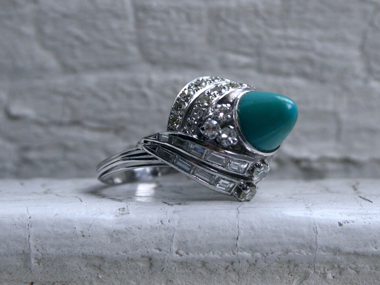 Amazing Antique Platinum Diamond and Turquoise Ring Engagement Ring.