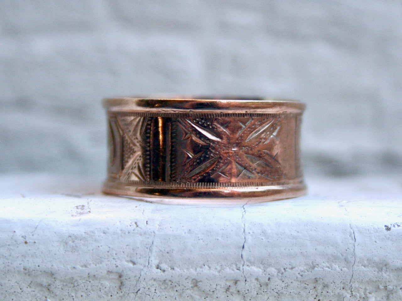 Antique 10K Rose Gold Engraved Wedding Band.