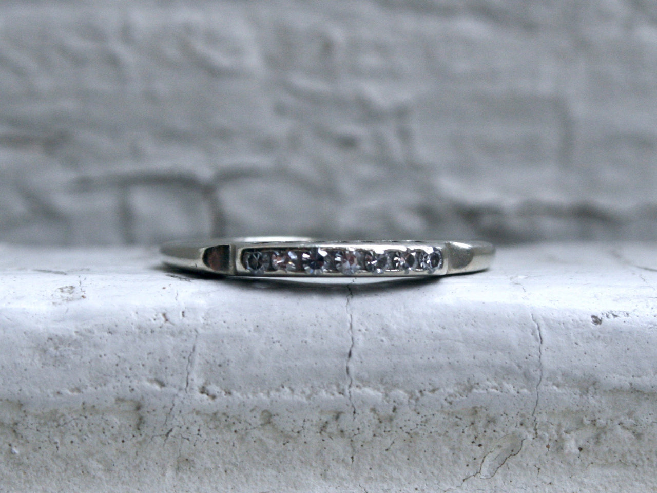 Classic Vintage 14K White Gold Diamond Channel Wedding Band by Orange Blossom.