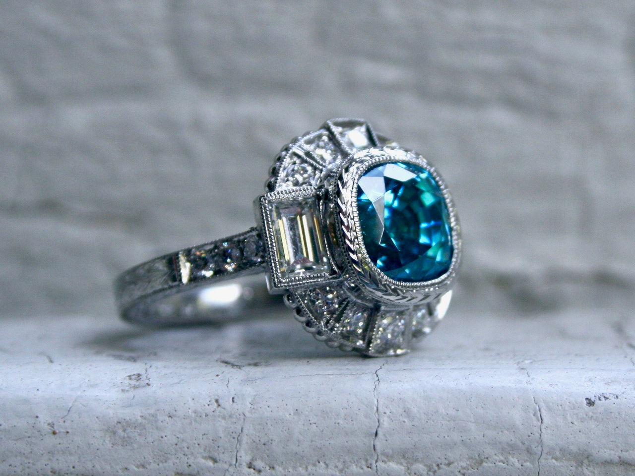 Stunning Platinum Diamond and Blue Zircon Ring Engagement Ring - 6.50ct.