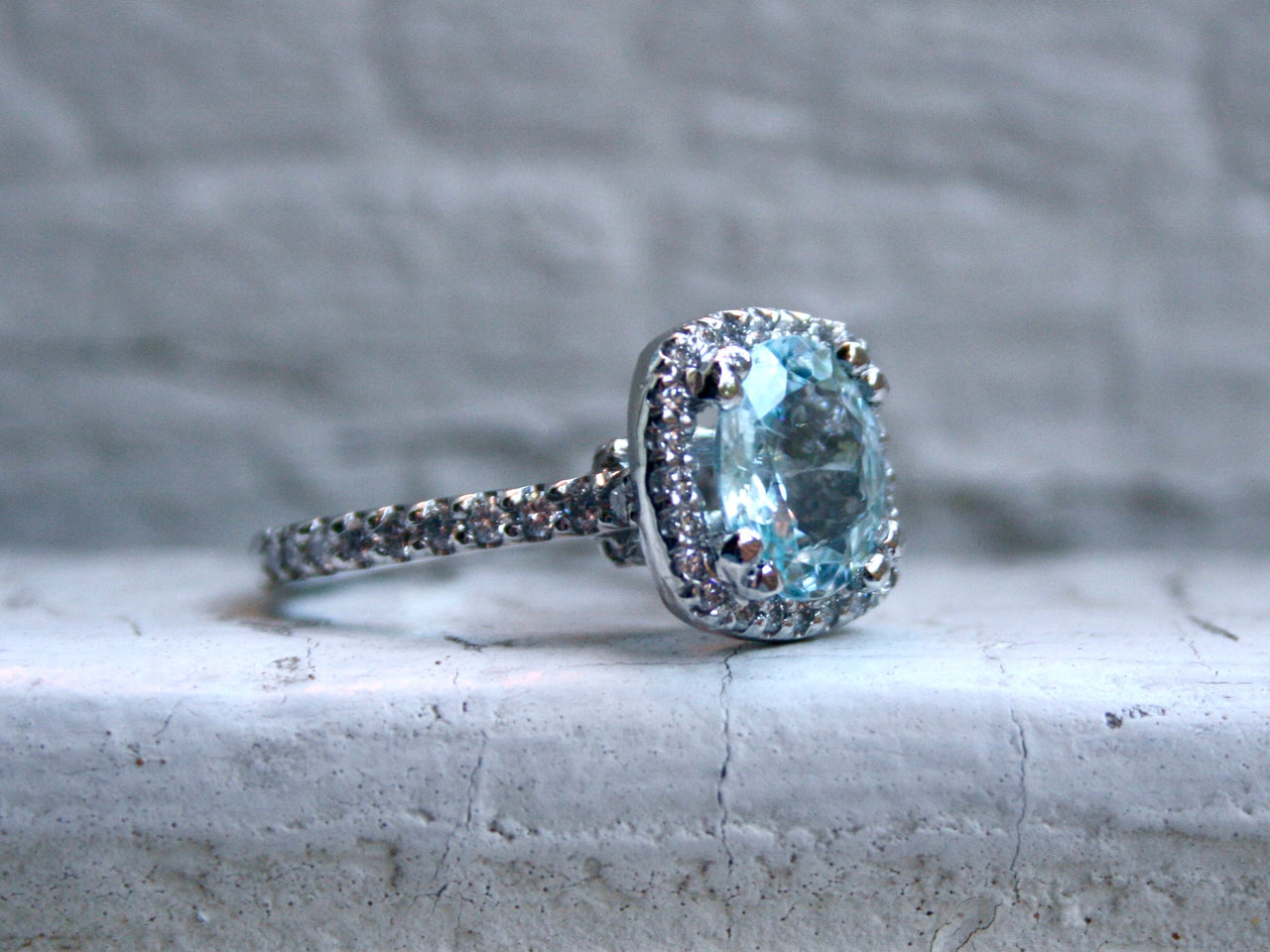 Vintage Platinum Diamond and Greenish Blue Paraiba Tourmaline Ring Engagement Ring  - 3.74ct.
