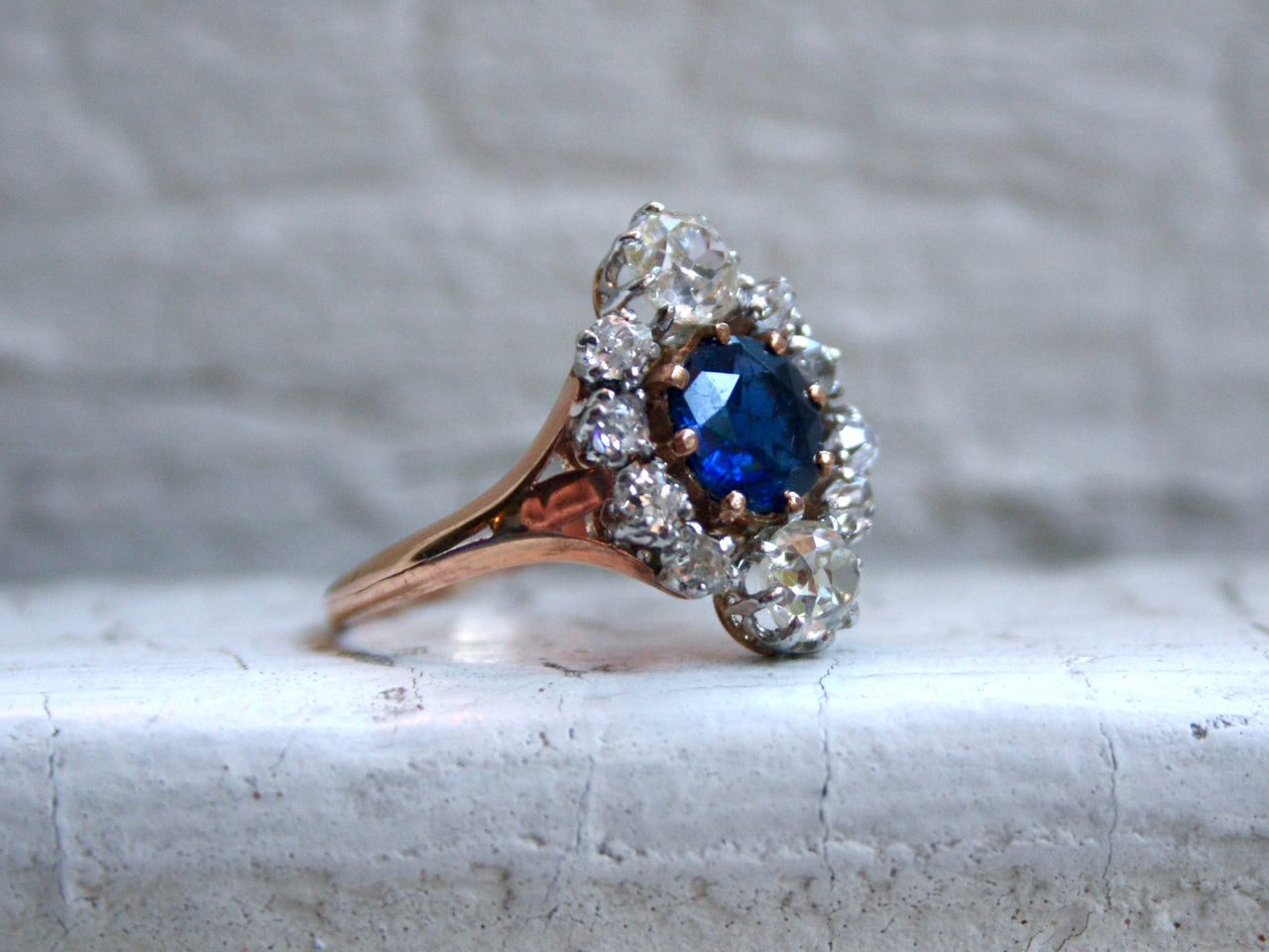 Beautiful Antique 14K Rose Gold Diamond and Sapphire Halo Ring - 3.15ct.