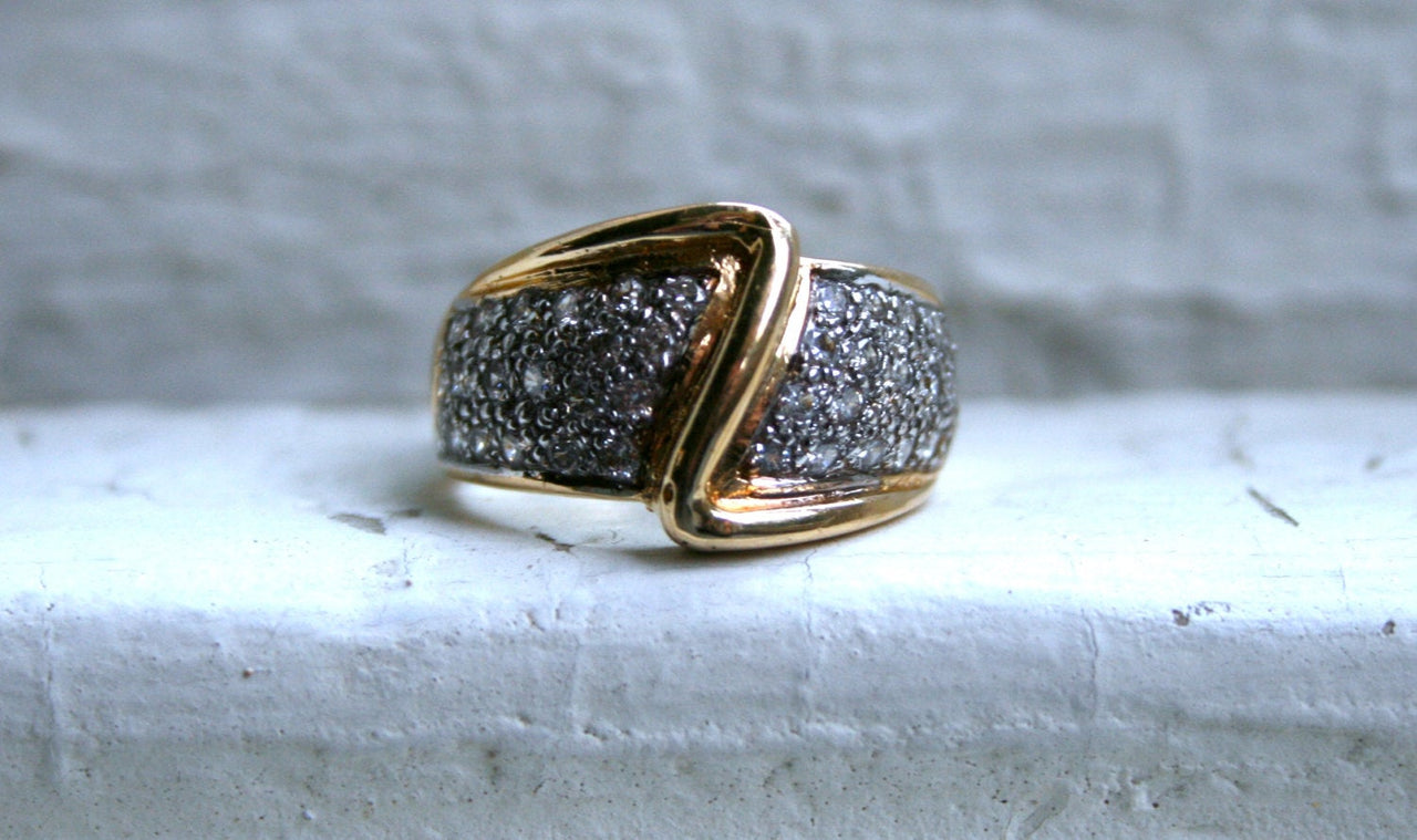 Wide Vintage 14K Yellow Gold Pave Diamond Wedding Band.