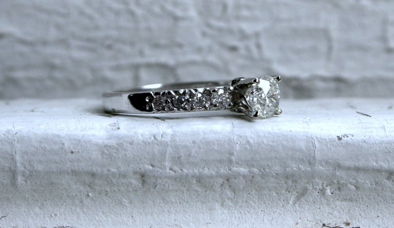 Vintage Three Stone Diamond Engagement Ring in 14K White Gold - 1.19ct.
