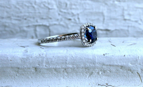 14K White Gold Pave Diamond and Sapphire Halo Ring - 1.60ct.