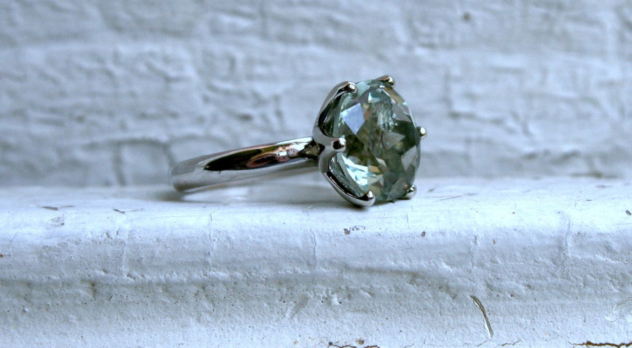 Large Green Amethyst Solitaire in 14K White Gold - 7.35ctw