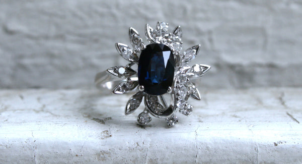 Vintage 18K White Gold Retro Diamond and Sapphire Cluster Engagement Ring -2.22ct.