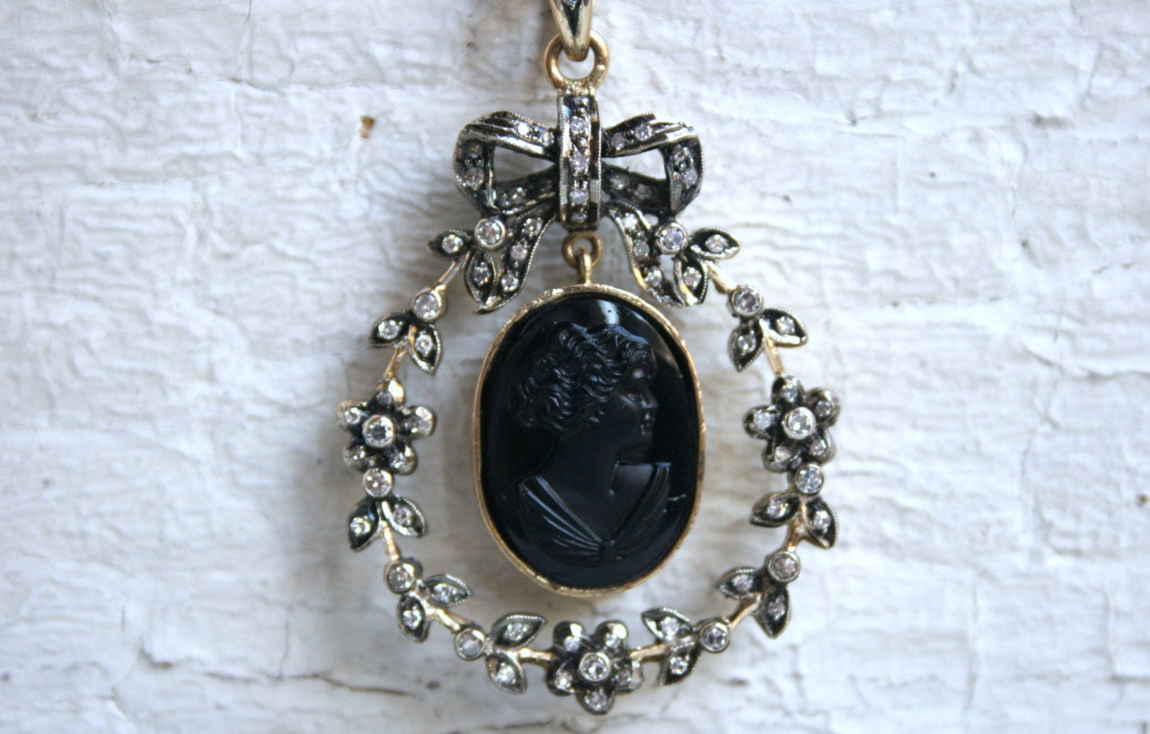 Antique Victorian 18K Yellow Gold Jet Cameo with Diamonds.