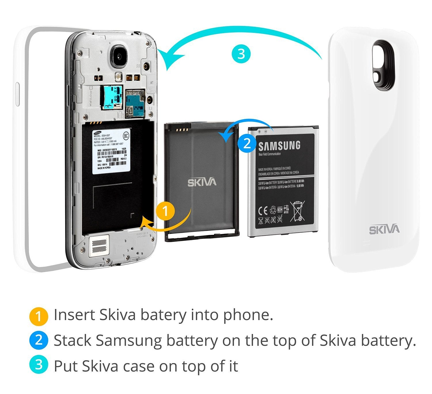 1 Year Warranty Model:AP108 Skiva PowerFlow 2600mAh Samsung Galaxy S4 Protective Rechargeable Battery Case withNFC//Google Wallet