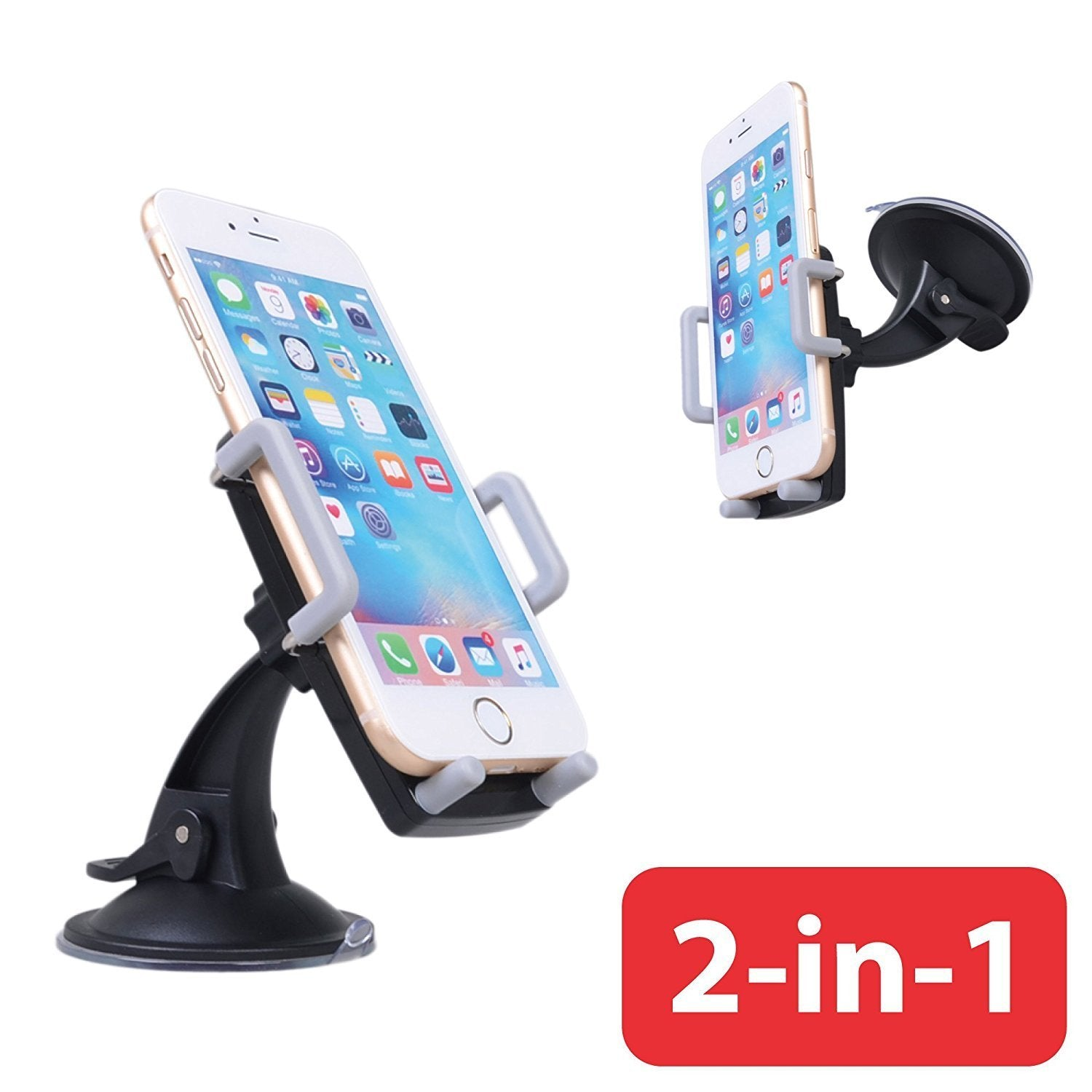 Awaqi 2 Packs Car Phone Holder with Phone Number Plate Cell Phone Stand Car Dashboard Universal Car Mount Cradle Compatible with Phone Xs Mas// 8 Plus//Samsung Galaxy Note 10 Plus//S10// S9 //S8 Grey