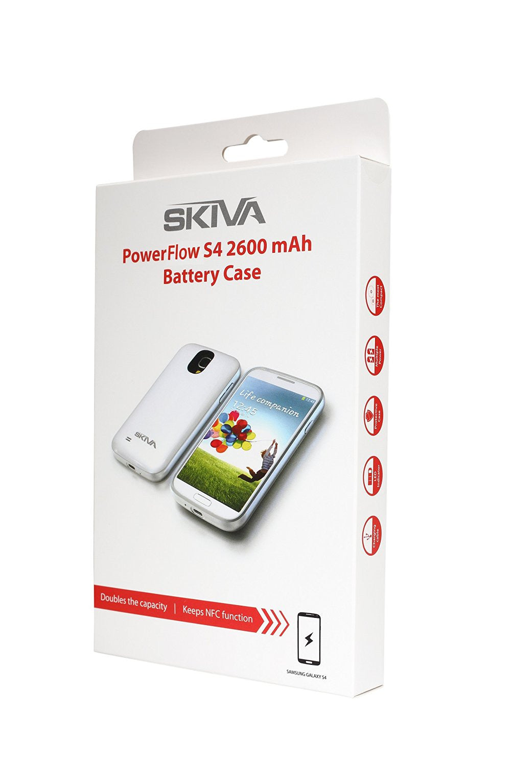 Skiva PowerFlow 2600mAh Samsung Galaxy S4 Protective Rechargeable Battery Case withNFC//Google Wallet 1 Year Warranty Model:AP108