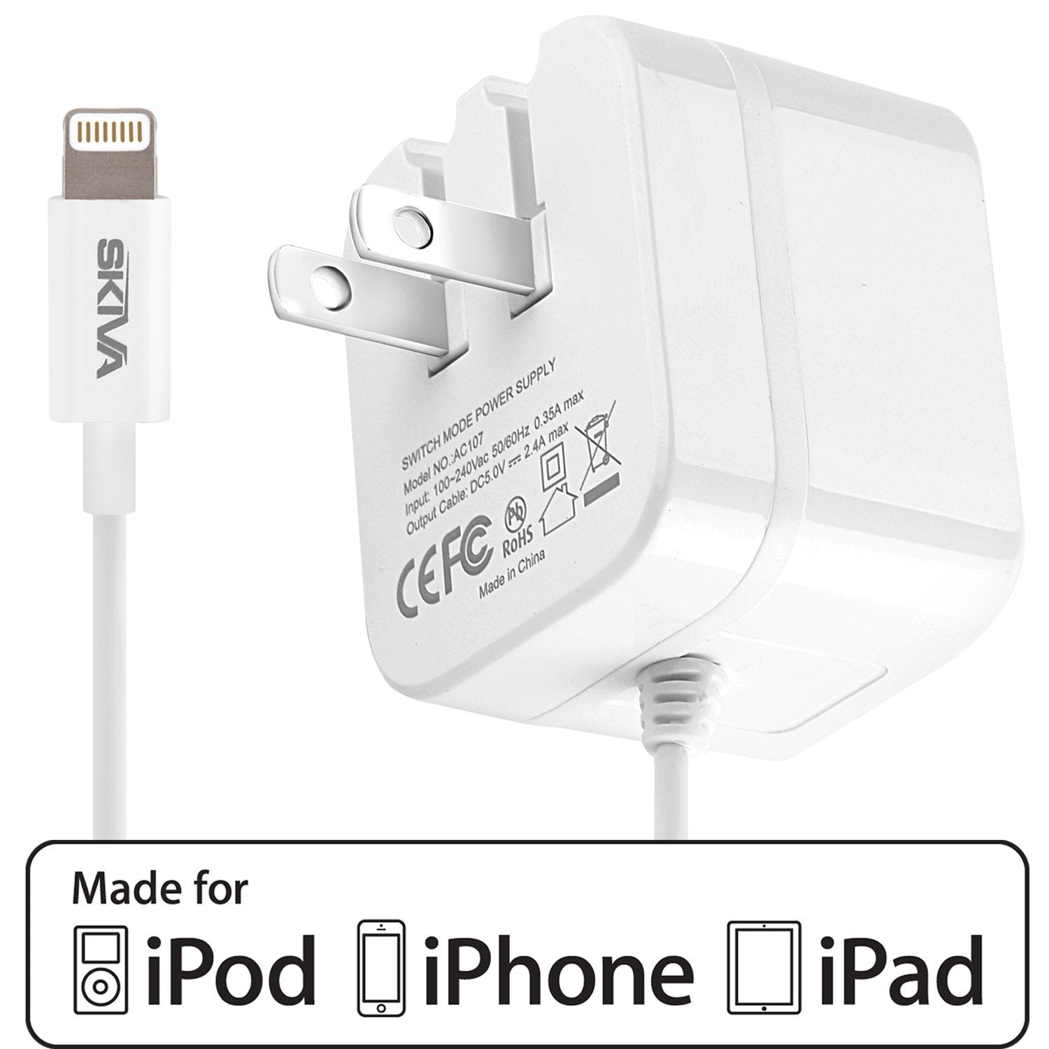 b4c45928e9d704 Skiva PowerFlow 12-Watts 2.4-Amps AC Wall Charger [Apple MFi Certified /  Foldable Plug] with integrated 8-pin Lightning Cable (3.2ft)(AC107)