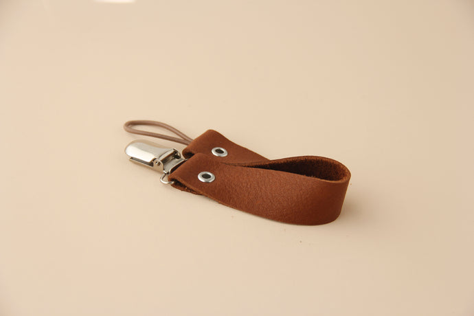 Leather Pacifier Holder - Brown Rust