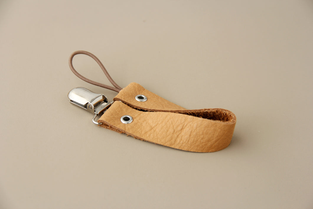 Leather Pacifier Holder  - Kaki