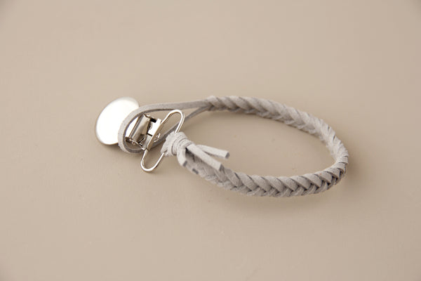 Braided Leather Pacifier Holder - Grey